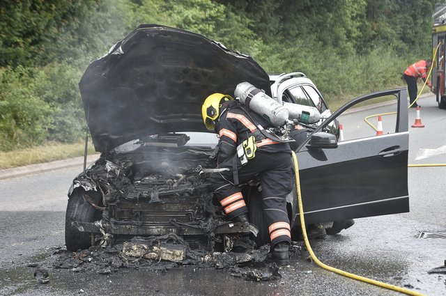 The car fire at Boongate. EMN-210621-155740009