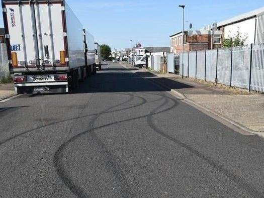 Tyre marks from a previous car cruising event in Peterborough