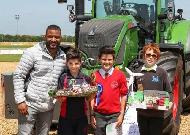 Singer JB Gill with competition winners from the 2019 Food and Farming event