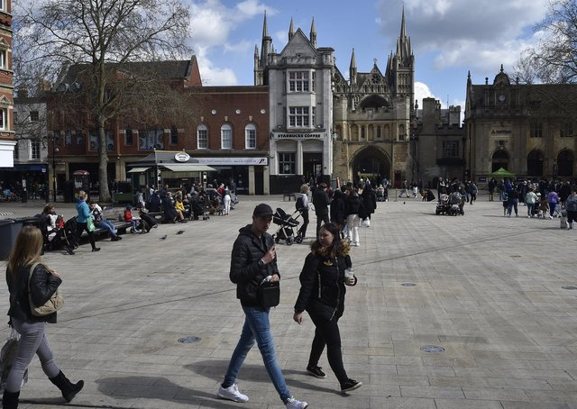 Peterborough City Centre as Covid 19 lockdown restrictions eased on April 12. EMN-211204-173454009