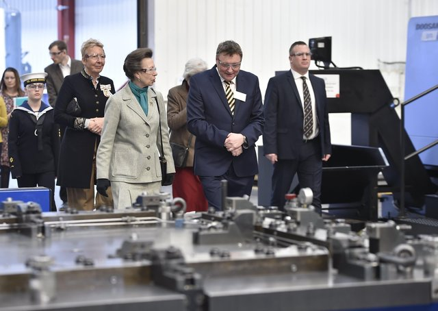 Princess Anne visiting Metalcraft at Chatteris in 2019.  EMN-190329-170259009