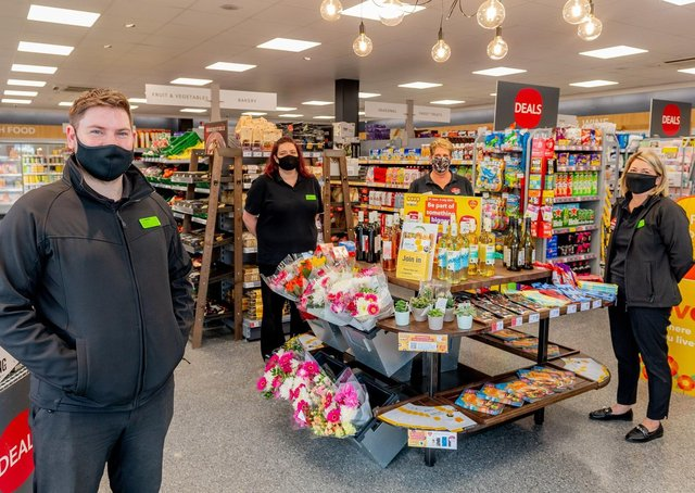 Store Manager Jordan Rolf (left) and colleagues in the Hempsted Central England Co-op following its makeover.