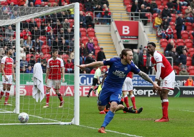 Jack Marriott celebrates a Posh goal at Rotherham. Photo: Joe Dent/theposh.com.