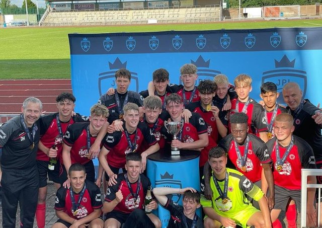 Netherton United Under 18s celebrate their National Cup Final success.