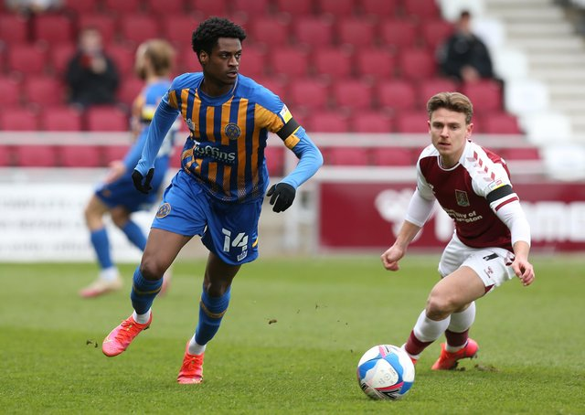 Nathaniel Ogbeta (left) n action for Shrewsbury. Photo: Pete Norton Getty Images.