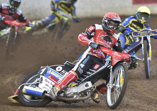 Panthers racer Bjarne Pedersen leads heat one in the win over Sheffield. Photo: David Lowndes.