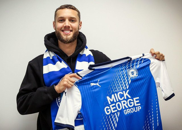 New Posh signing Jorge Grant after he completed his move to the Weston Homes Stadium. Photo: Joe Dent/theposh.com.