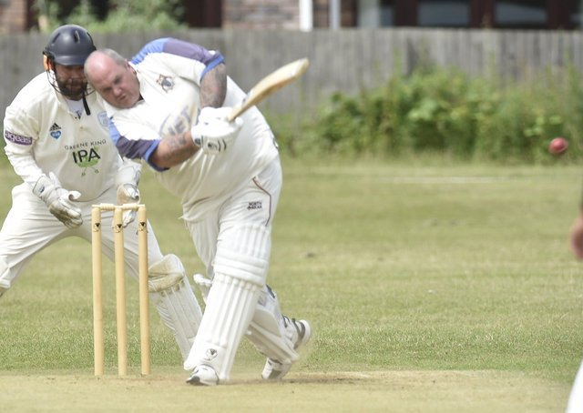 Mark Durham on his way to 50 for Orton Park seconds against Heckington. Photo: David Lowndes.