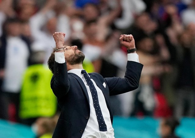 Gareth Southgate celebrated victory over Germany at Wembley (Photo by Frank Augstein - Pool/Getty Images)