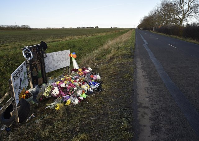 Cain Martin's memorial along the B1167 at New Cut, Thorney.