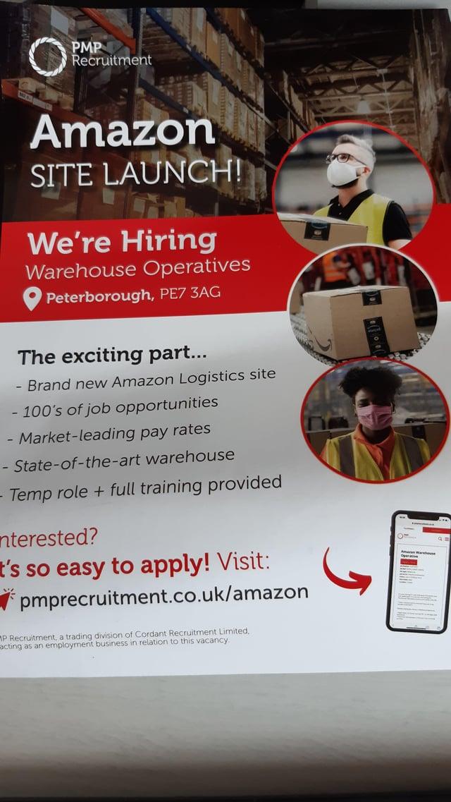 The Amazon recruitment leaflet.