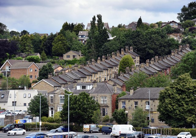 Terraced housing in Batley pictured on the penultimate day of campaigning in the Batley and Spen by-election.