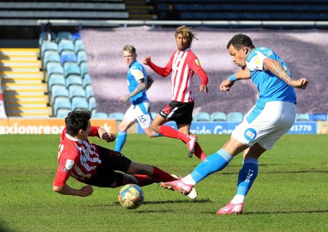 Luke O'Nien blocks a Jonson Clarke-Harris shot when playing for Sunderland against Posh last season. Photo: Joe Dent/theposh.com.