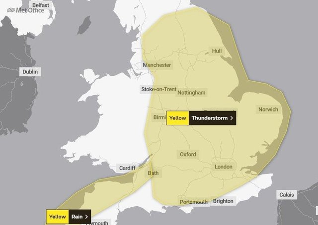 A yellow weather warning is in place across Peterborough.