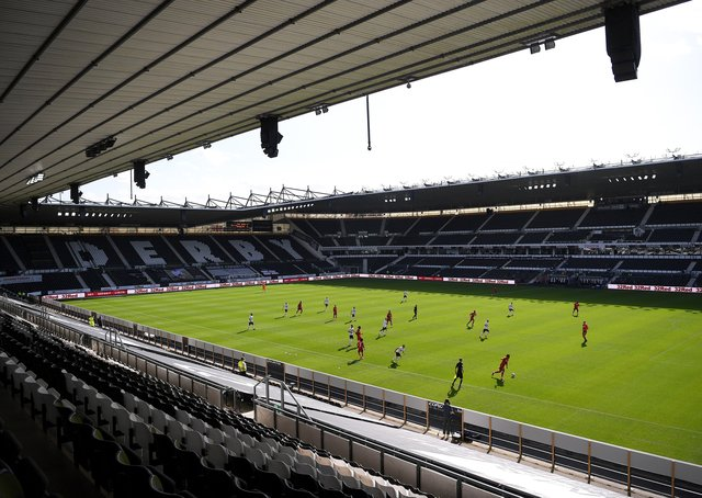 Pride Park will host Championship football next season. Photo: Getty Images.
