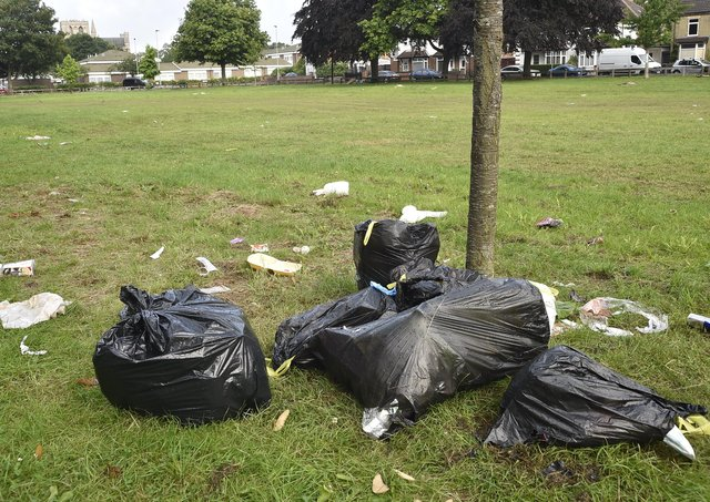 Rubbish left at Bishop's Road recreation area after a visit by Travellers.