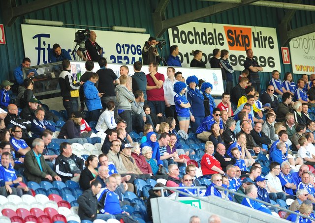 Posh fans at the game against Rochdale at the Weston Homes Stadium. Photo: David Lowndes.