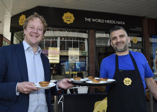 MP for Peterborough Paul Bristow at Nata Lisboa cafe with   Helder Alves EMN-210807-174419009