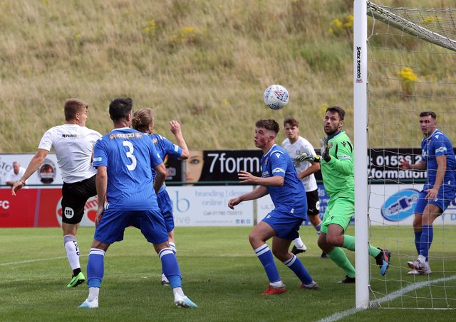 Action from Posh at Stamford in August, 2020.