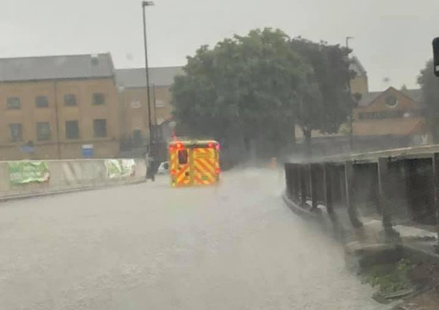 Flooding on Boulevard Bourges, near Chemin Thorpe.