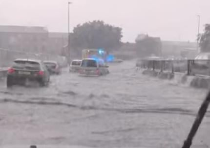 Roads in Peterborough hit by flooding tonoght