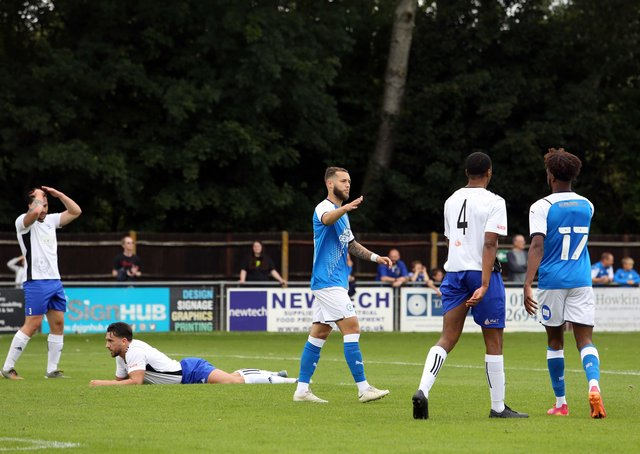 Posh newcomer Jorge Grant after scoring against Bedford Town at the weekend. Photo: Joe Dent/theposh.com.