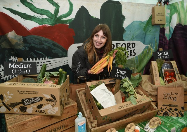 Anna Whelan from Riverford Organic Farmers at the Vegan Market in Cathedral Square.