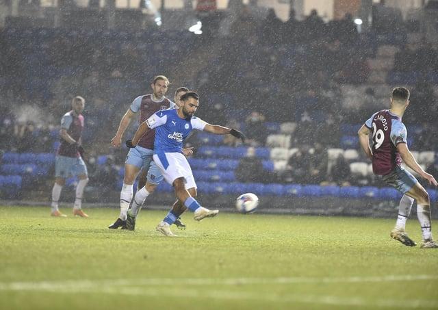 Serhat Tasdemir scoring for Posh against West Ham Under 21s.