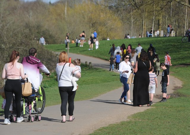 Crowds of people at Ferry Meadows.