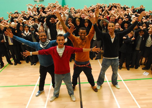 X-Factor contestants JLS perform at Jack Hunt School - the band were at the Boot Camp stage of the competition.