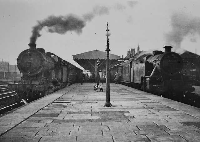 History of Railways in Peterborough exhibition  at Railworld.   Peterborough East Station  1955. Pic from the Nene Valley Railway Museum Group Archive EMN-210824-141825009