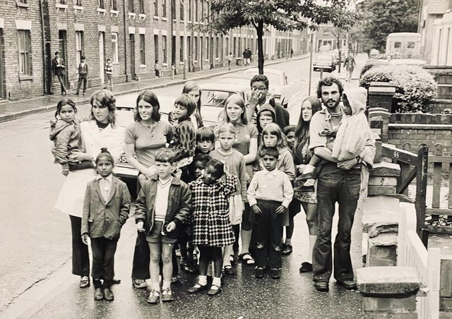 Toby Wood (right ,holding child) when he was a playleader in Cromwell Road