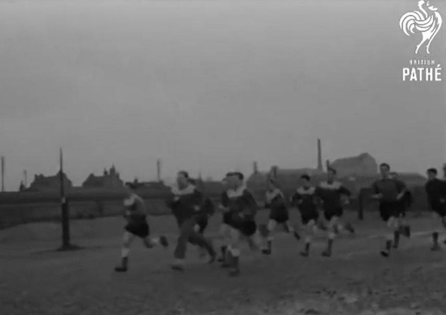 Peterborough United players on a training run in 1960. Footage from Pathe news is available on Youtube.