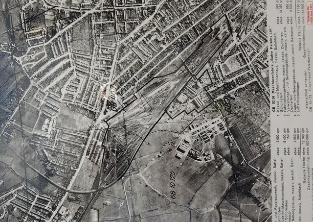 WW2 aerial taken by German plane, of Baker Perkins factory and surrounding railway lines/ marshalling yard in 1941.