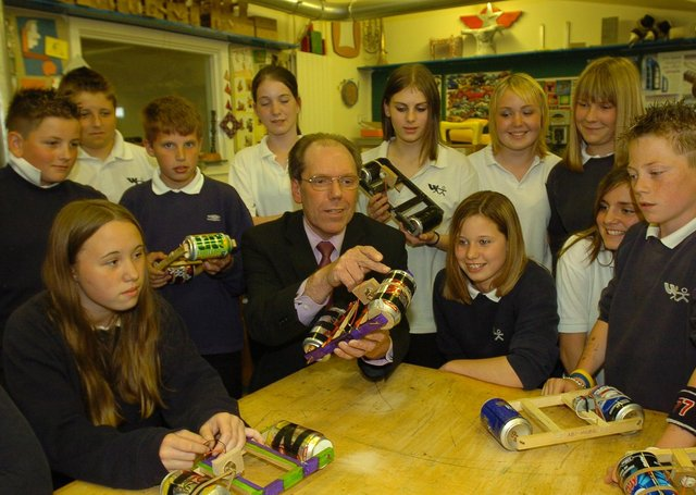 John Catton, former head teacher at Walton school  pictured with students in DT class.
