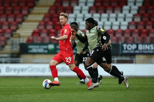 Adam Thompson gioca contro il Colchester United.  Credito Leyton Orient Football Club