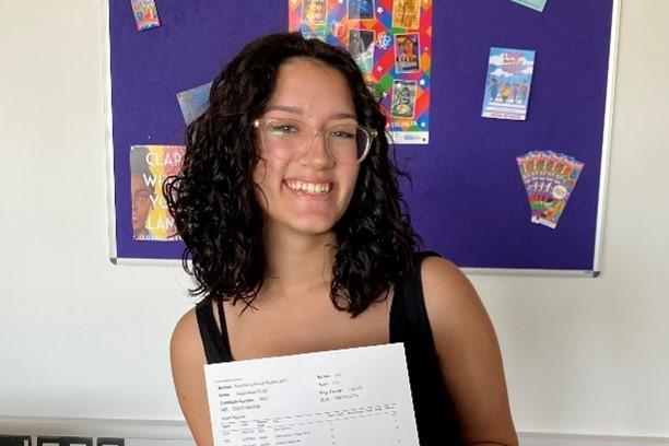 Anais Smith celebrating her top grades